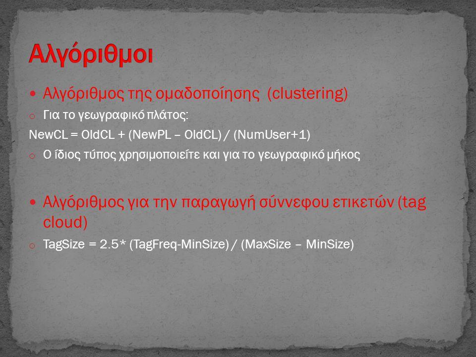  Αλγόριθμος της ομαδοποίησης (clustering) o Για το γεωγραφικό πλάτος: NewCL = OldCL + (NewPL – OldCL) / (NumUser+1) o Ο ίδιος τύπος χρησιμοποιείτε και για το γεωγραφικό μήκος  Αλγόριθμος για την παραγωγή σύννεφου ετικετών (tag cloud) o TagSize = 2.5* (TagFreq-MinSize) / (MaxSize – MinSize)
