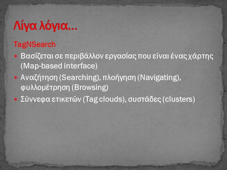 TagNSearch  Βασίζεται σε περιβάλλον εργασίας που είναι ένας χάρτης (Map-based interface)  Αναζήτηση (Searching), πλοήγηση (Navigating), φυλλομέτρηση (Browsing)  Σύννεφα ετικετών (Tag clouds), συστάδες (clusters)