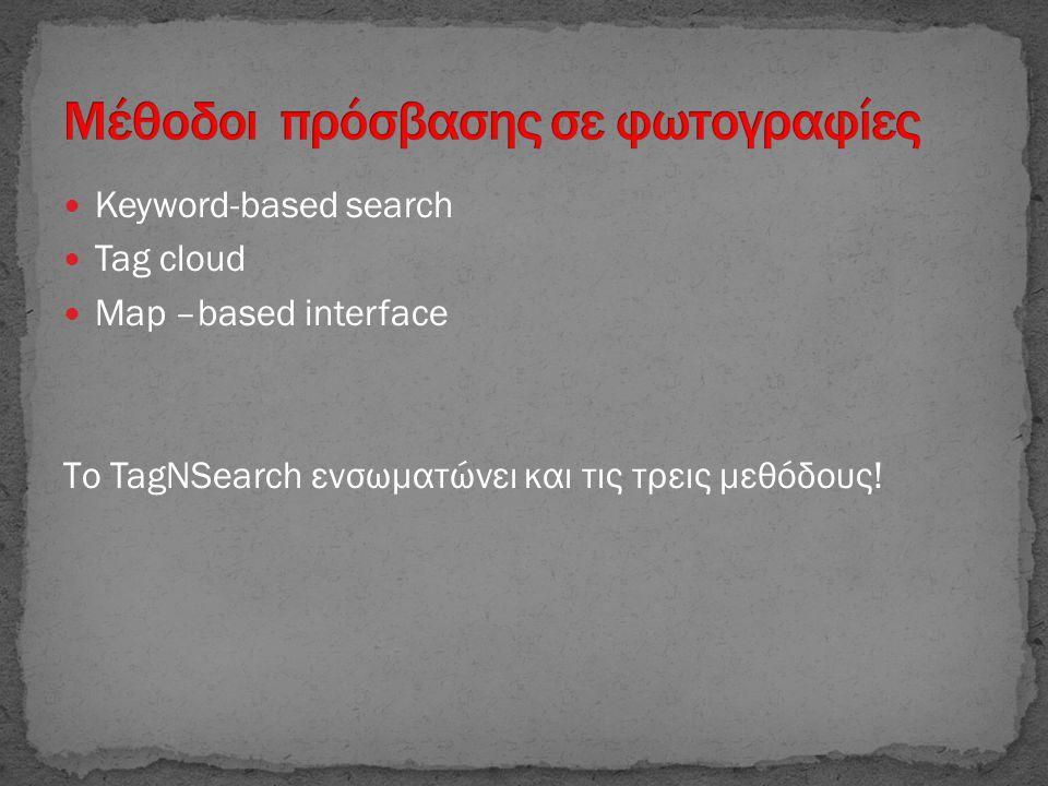 Keyword-based search  Tag cloud  Map –based interface Το TagNSearch ενσωματώνει και τις τρεις μεθόδους!