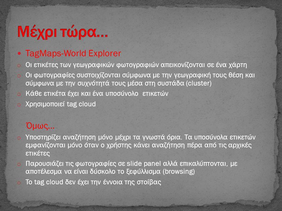  TagMaps-World Explorer o Οι ετικέτες των γεωγραφικών φωτογραφιών απεικονίζονται σε ένα χάρτη o Οι φωτογραφίες συστοιχίζονται σύμφωνα με την γεωγραφι