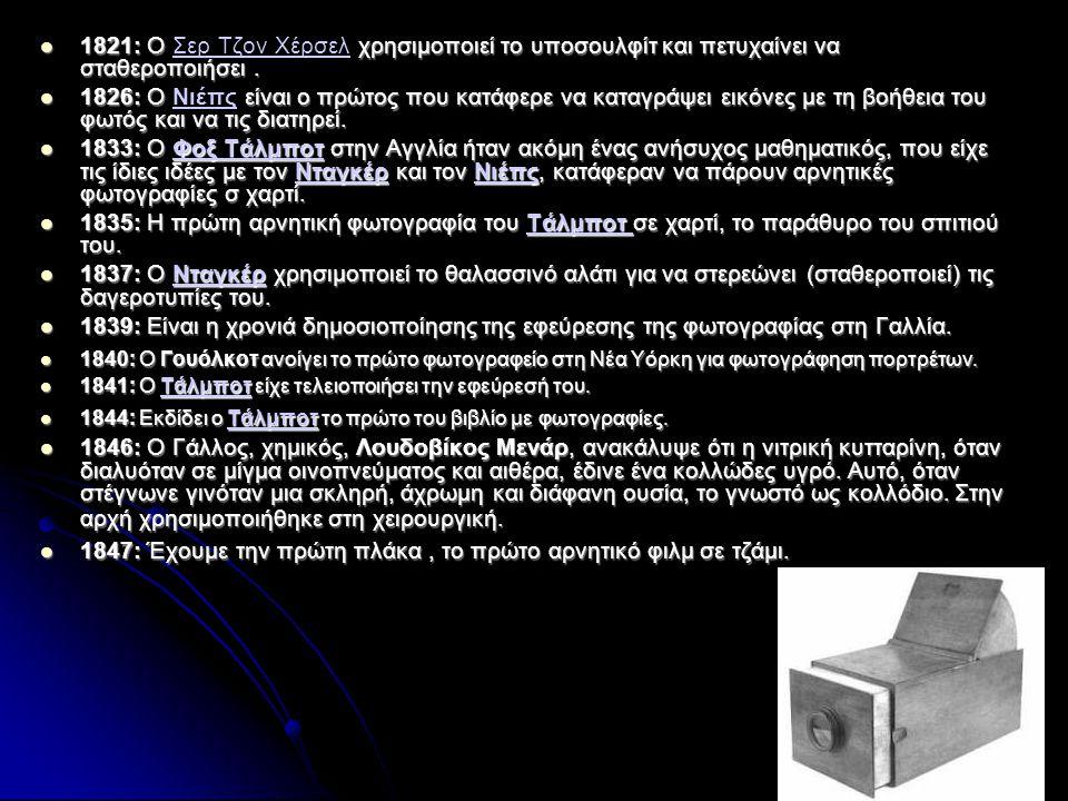  1821: Ο χρησιμοποιεί το υποσουλφίτ και πετυχαίνει να σταθεροποιήσει.