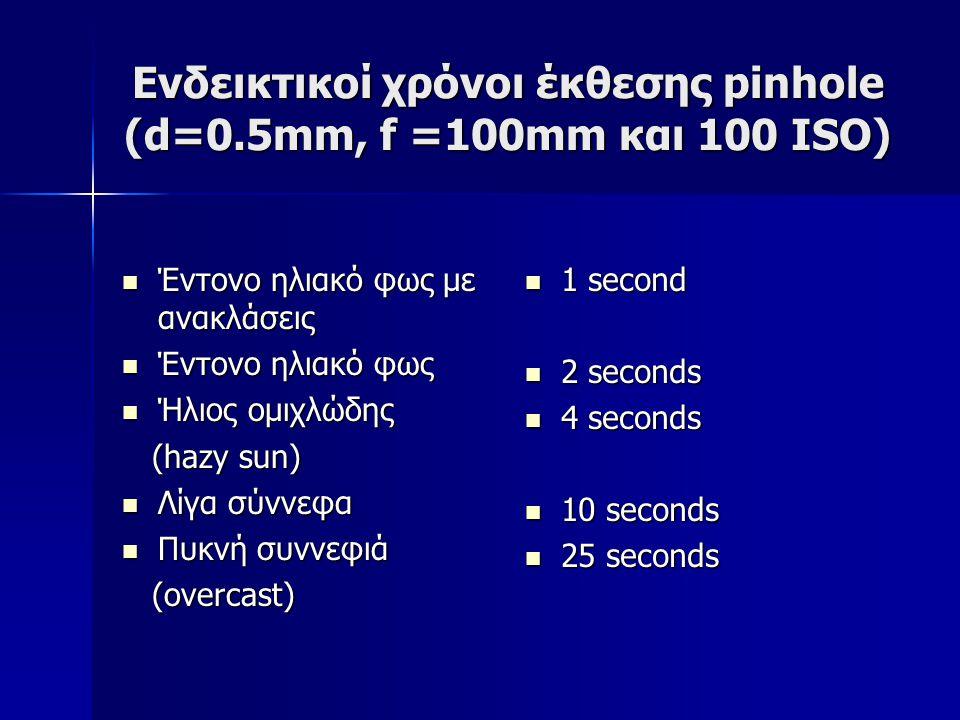 Ενδεικτικοί χρόνοι έκθεσης pinhole (d=0.5mm, f =100mm και 100 ISO)  Έντονο ηλιακό φως με ανακλάσεις  Έντονο ηλιακό φως  Ήλιος ομιχλώδης (hazy sun) (hazy sun)  Λίγα σύννεφα  Πυκνή συννεφιά (overcast) (overcast)  1 second  2 seconds  4 seconds  10 seconds  25 seconds