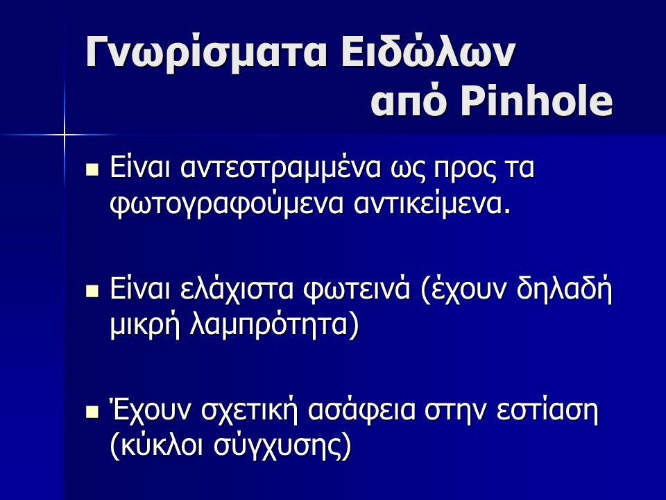 Γνωρίσματα Ειδώλων από Pinhole  Είναι αντεστραμμένα ως προς τα φωτογραφούμενα αντικείμενα.