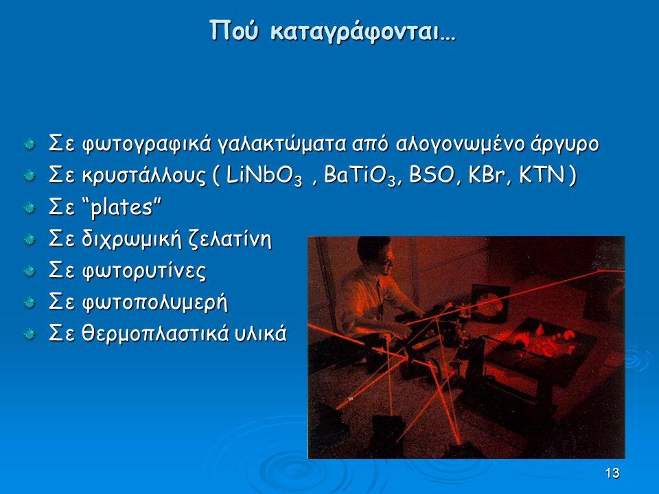 13 Πού καταγράφονται… Σε φωτογραφικά γαλακτώματα από αλογονωμένο άργυρο Σε κρυστάλλους ( LiNbO 3, BaTiO 3, BSO, KBr, KTN ) Σε plates Σε διχρωμική ζελατίνη Σε φωτορυτίνες Σε φωτοπολυμερή Σε θερμοπλαστικά υλικά