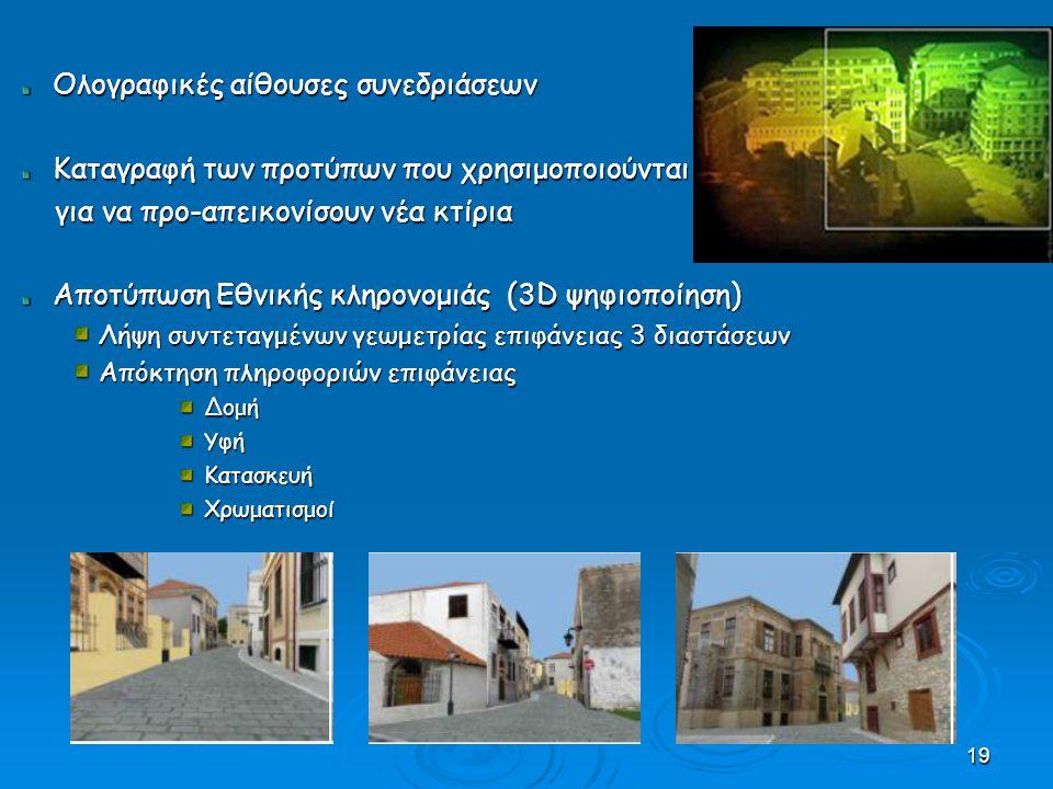 19 Ολογραφικές αίθουσες συνεδριάσεων Καταγραφή των προτύπων που χρησιμοποιούνται για να προ-απεικονίσουν νέα κτίρια για να προ-απεικονίσουν νέα κτίρια Αποτύπωση Εθνικής κληρονομιάς (3D ψηφιοποίηση) Λήψη συντεταγμένων γεωμετρίας επιφάνειας 3 διαστάσεων Απόκτηση πληροφοριών επιφάνειας ΔομήΥφήΚατασκευήΧρωματισμοί