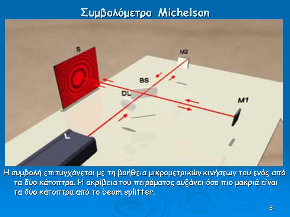 8 Συμβολόμετρο Michelson Η συμβολή επιτυγχάνεται με τη βοήθεια μικρομετρικών κινήσεων του ενός από τα δύο κάτοπτρα.