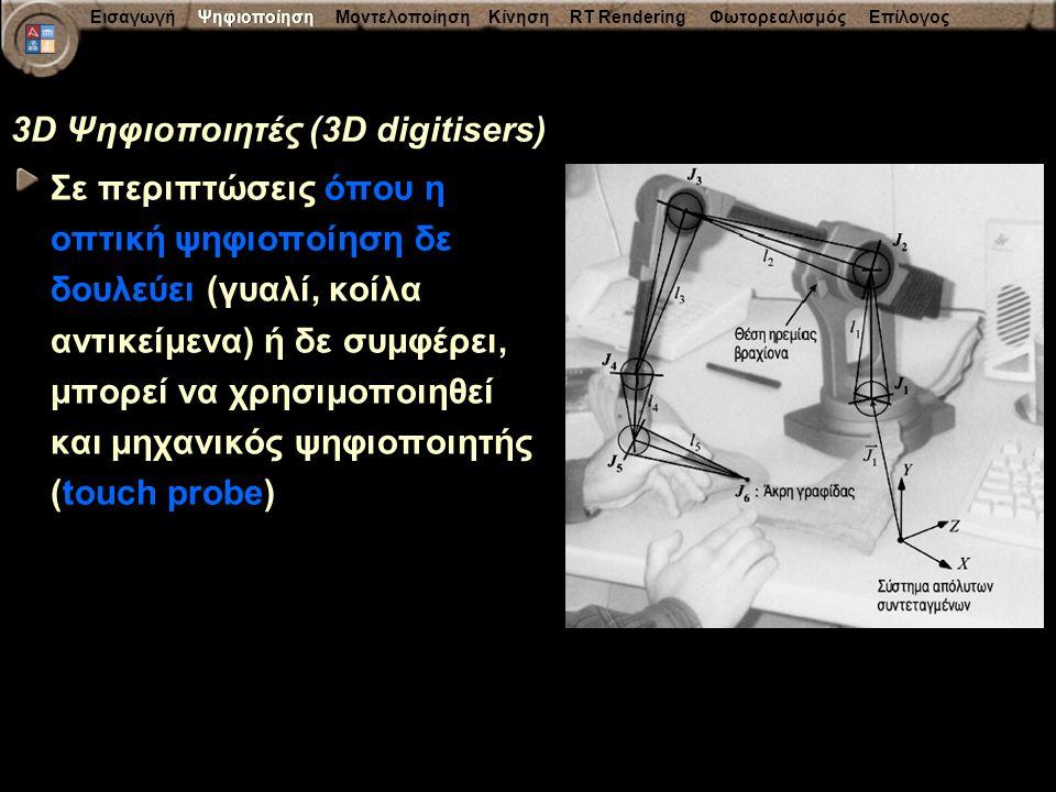 Εισαγωγή Ψηφιοποίηση Μοντελοποίηση Κίνηση RT Rendering Φωτορεαλισμός Επίλογος 3D Ψηφιοποιητές (3D digitisers) Σε περιπτώσεις όπου η οπτική ψηφιοποίηση