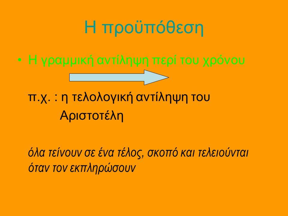 Η προϋπόθεση •Η γραμμική αντίληψη περί του χρόνου π.χ. : η τελολογική αντίληψη του Αριστοτέλη όλα τείνουν σε ένα τέλος, σκοπό και τελειούνται όταν τον