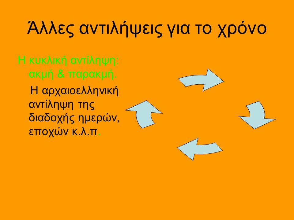 Άλλες αντιλήψεις για το χρόνο Η κυκλική αντίληψη: ακμή & παρακμή. Η αρχαιοελληνική αντίληψη της διαδοχής ημερών, εποχών κ.λ.π.