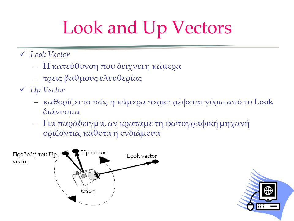  Look Vector –Η κατεύθυνση που δείχνει η κάμερα –τρεις βαθμούς ελευθερίας  Up Vector –καθορίζει το πώς η κάμερα περιστρέφεται γύρω από το Look διάνυ