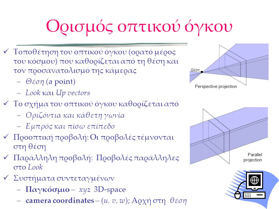  Τοποθέτηση του οπτικού όγκου (ορατό μέρος του κόσμου) που καθορίζεται από τη θέση και τον προσανατολισμό της κάμερας –Θέση (a point) –Look και Up ve