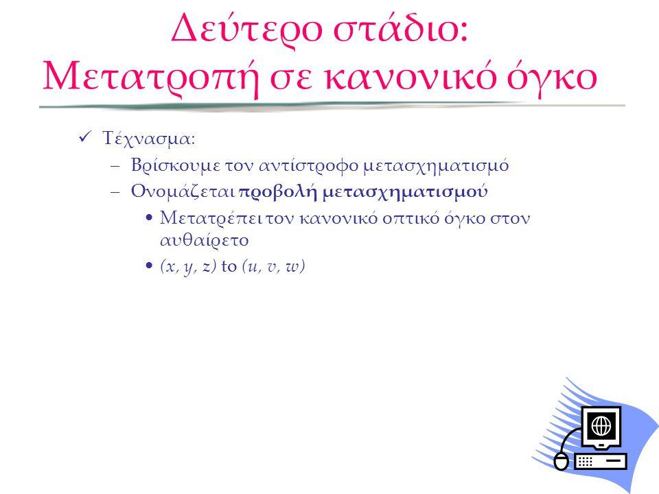  Τέχνασμα: –Βρίσκουμε τον αντίστροφο μετασχηματισμό –Ονομάζεται προβολή μετασχηματισμού •Μετατρέπει τον κανονικό οπτικό όγκο στον αυθαίρετο •(x, y, z