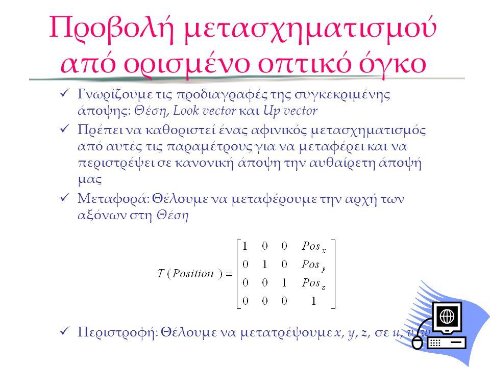  Γνωρίζουμε τις προδιαγραφές της συγκεκριμένης άποψης: Θέση, Look vector και Up vector  Πρέπει να καθοριστεί ένας αφινικός μετασχηματισμός από αυτές