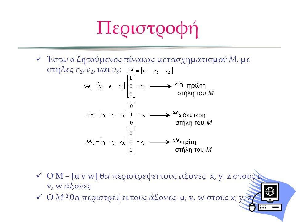  Έστω ο ζητούμενος πίνακας μετασχηματισμού M, με στήλες v 1, v 2, και v 3 :  Ο M = [u v w] θα περιστρέψει τους άξονες x, y, z στους u, v, w άξονες 