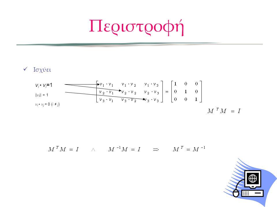 Περιστροφή  Ισχύει v i • v i =1 ||v i || = 1 v i • v j = 0 (i  j)
