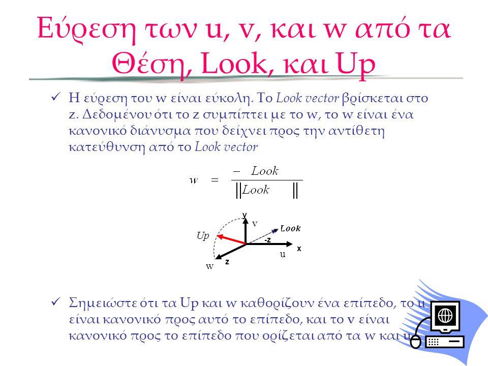  Η εύρεση του w είναι εύκολη. Το Look vector βρίσκεται στο z. Δεδομένου ότι το z συμπίπτει με το w, το w είναι ένα κανονικό διάνυσμα που δείχνει προς