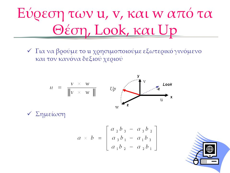 Look Up w v u  Για να βρούμε το u χρησιμοποιούμε εξωτερικό γινόμενο και τον κανόνα δεξιού χεριού  Σημείωση Εύρεση των u, v, και w από τα Θέση, Look,