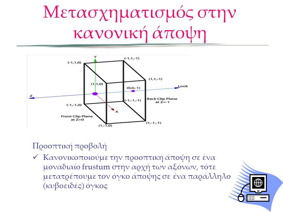 Προοπτική προβολή  Κανονικοποιούμε την προοπτική άποψη σε ένα μοναδιαίο frustum στην αρχή των αξόνων, τότε μετατρέπουμε τον όγκο άποψης σε ένα παράλλ