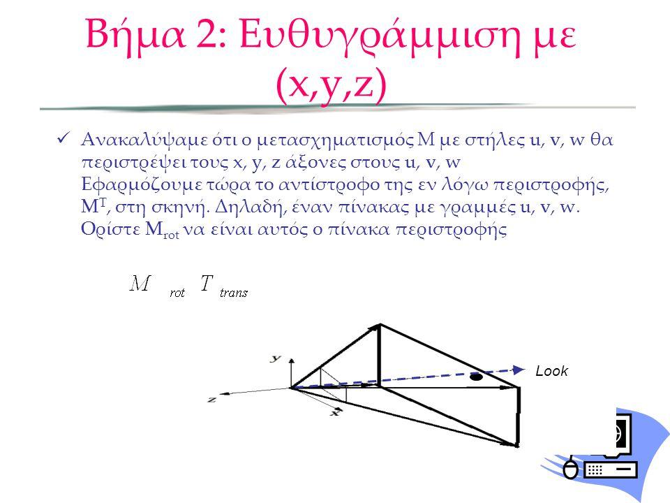  Ανακαλύψαμε ότι ο μετασχηματισμός Μ με στήλες u, v, w θα περιστρέψει τους x, y, z άξονες στους u, v, w Εφαρμόζουμε τώρα το αντίστροφο της εν λόγω πε