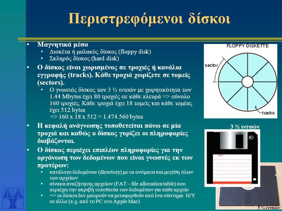 Περιστρεφόμενοι δίσκοι •Μαγνητικά μέσα •Δισκέτα ή μαλακός δίσκος (floppy disk) •Σκληρός δίσκος (hard disk) •Ο δίσκος είναι χωρισμένος σε τροχιές ή καν