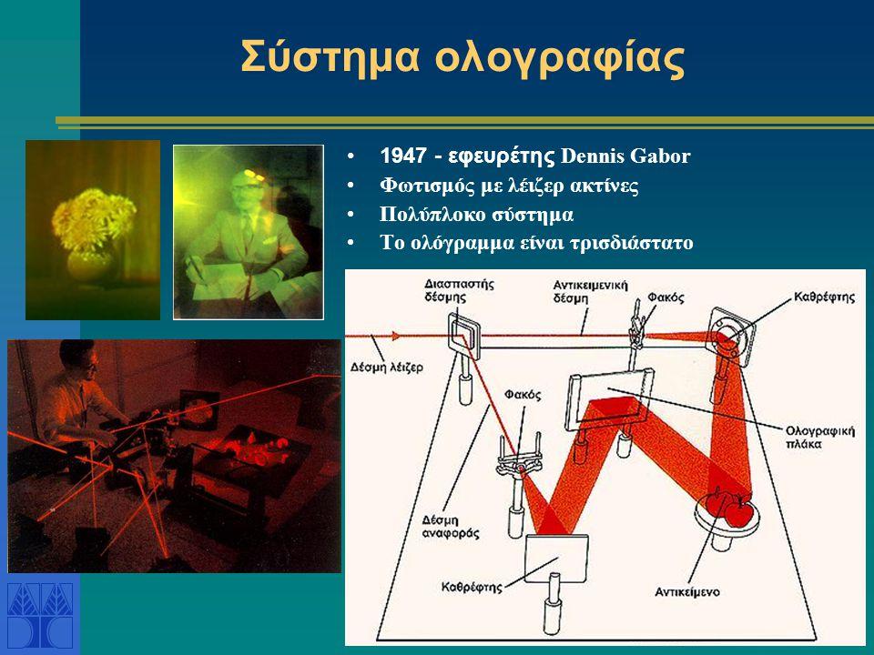 Σύστημα ολογραφίας •1947 - εφευρέτης Dennis Gabor •Φωτισμός με λέιζερ ακτίνες •Πολύπλοκο σύστημα •Το ολόγραμμα είναι τρισδιάστατο