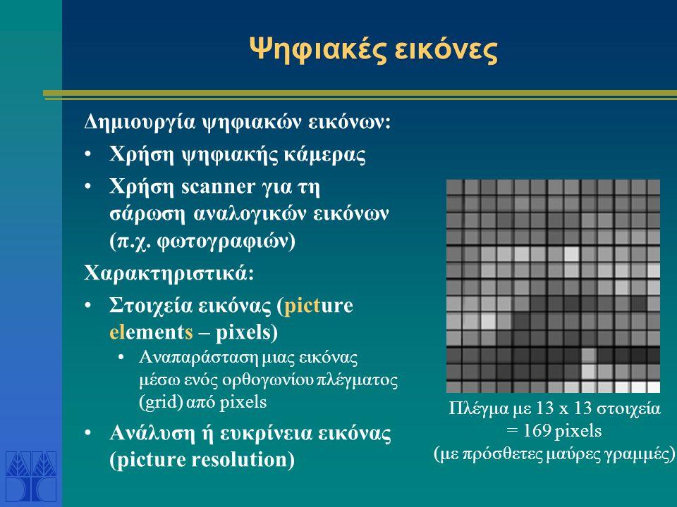 Ψηφιακές εικόνες Δημιουργία ψηφιακών εικόνων: •Χρήση ψηφιακής κάμερας •Χρήση scanner για τη σάρωση αναλογικών εικόνων (π.χ. φωτογραφιών) Χαρακτηριστικ