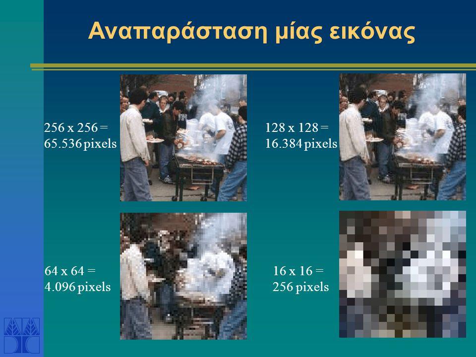 Αναπαράσταση μίας εικόνας 256 x 256 = 65.536 pixels 16 x 16 = 256 pixels 128 x 128 = 16.384 pixels 64 x 64 = 4.096 pixels