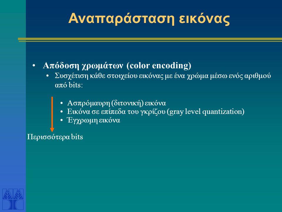 Αναπαράσταση εικόνας •Απόδοση χρωμάτων (color encoding) •Συσχέτιση κάθε στοιχείου εικόνας με ένα χρώμα μέσω ενός αριθμού από bits: •Ασπρόμαυρη (διτονι