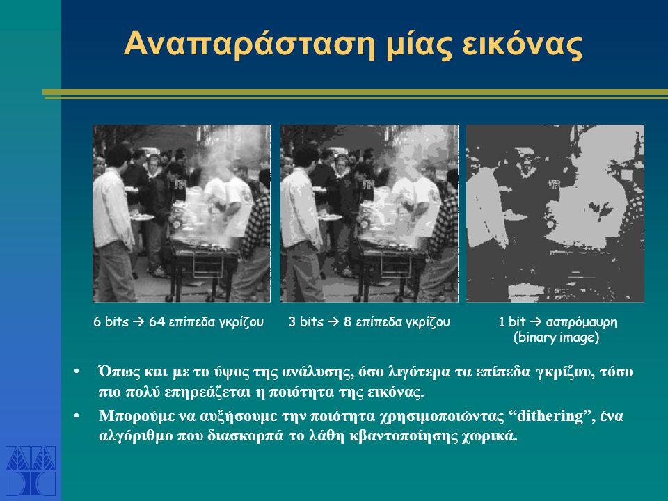 Αναπαράσταση μίας εικόνας •Όπως και με το ύψος της ανάλυσης, όσο λιγότερα τα επίπεδα γκρίζου, τόσο πιο πολύ επηρεάζεται η ποιότητα της εικόνας. •Μπορο