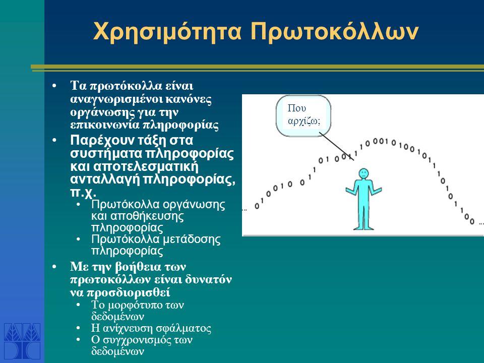 Χρησιμότητα Πρωτοκόλλων •Τα πρωτόκολλα είναι αναγνωρισμένοι κανόνες οργάνωσης για την επικοινωνία πληροφορίας •Παρέχουν τάξη στα συστήματα πληροφορίας