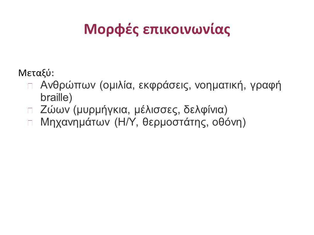 Τύποι Συστημάτων Επικοινωνίας Τύποι Συστημάτων Επικοινωνίας: Συστήματα επικοινωνίας δεδομένων (π.χ.