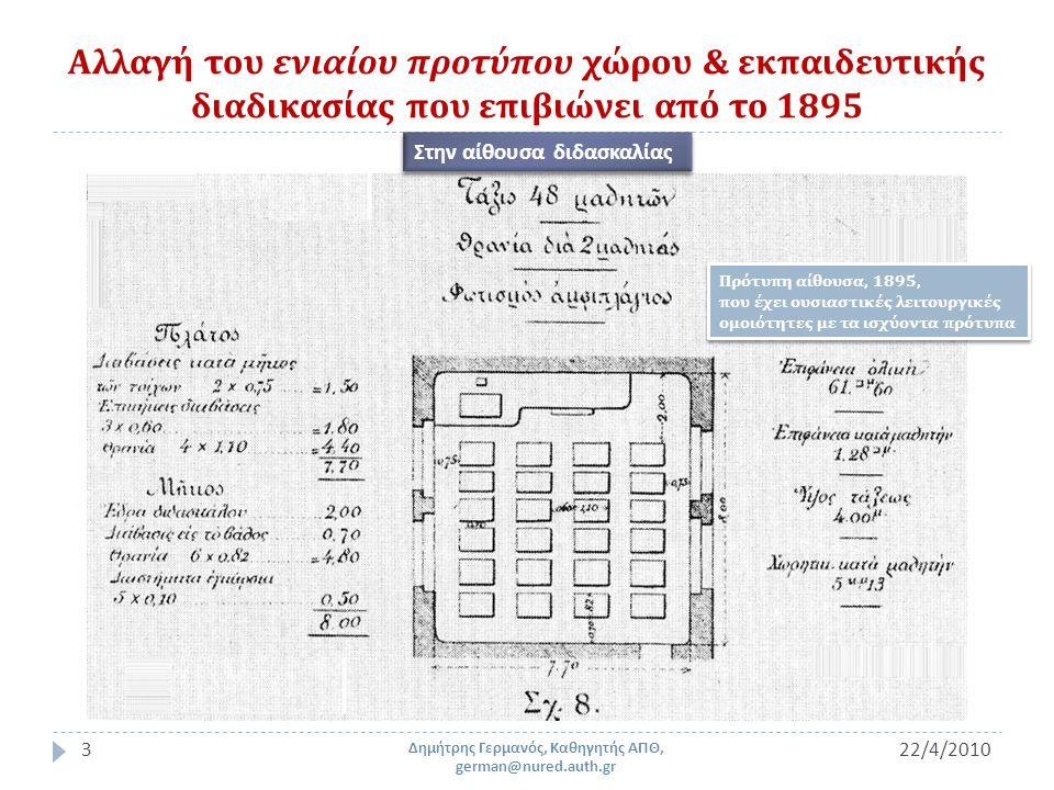 Αλλαγή του ενιαίου προτύπου χώρου & εκπαιδευτικής διαδικασίας που επιβιώνει από το 1895 22/4/20103 Δημήτρης Γερμανός, Καθηγητής ΑΠΘ, german@nured.auth.gr Πρότυπη αίθουσα, 1895, που έχει ουσιαστικές λειτουργικές ομοιότητες με τα ισχύοντα πρότυπα Πρότυπη αίθουσα, 1895, που έχει ουσιαστικές λειτουργικές ομοιότητες με τα ισχύοντα πρότυπα Στην αίθουσα διδασκαλίας