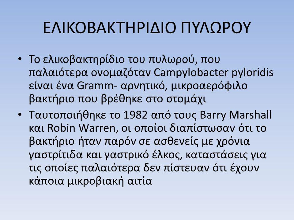 ΕΛΙΚΟΒΑΚΤΗΡΙΔΙΟ ΠΥΛΩΡΟΥ • Το ελικοβακτηρίδιο του πυλωρού, που παλαιότερα ονομαζόταν Campylobacter pyloridis είναι ένα Gramm- αρνητικό, μικροαερόφιλο βακτήριο που βρέθηκε στο στομάχι • Ταυτοποιήθηκε το 1982 από τους Barry Marshall και Robin Warren, οι οποίοι διαπίστωσαν ότι το βακτήριο ήταν παρόν σε ασθενείς με χρόνια γαστρίτιδα και γαστρικό έλκος, καταστάσεις για τις οποίες παλαιότερα δεν πίστευαν ότι έχουν κάποια μικροβιακή αιτία