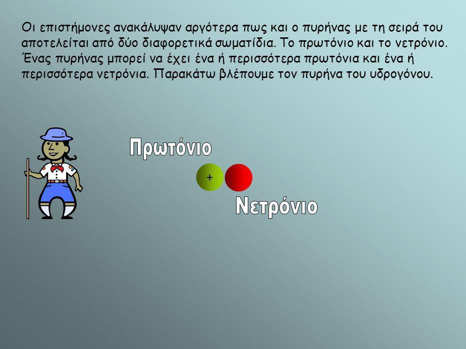 + Οι επιστήμονες ανακάλυψαν αργότερα πως και ο πυρήνας με τη σειρά του αποτελείται από δύο διαφορετικά σωματίδια. Το πρωτόνιο και το νετρόνιο. Ένας πυ