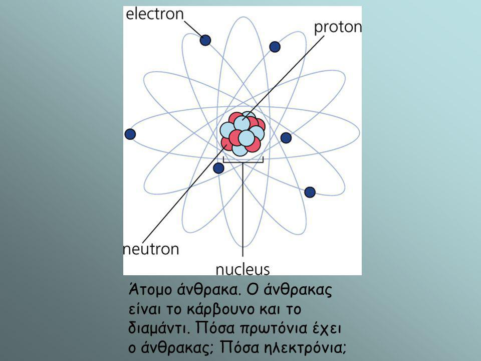Άτομο άνθρακα. Ο άνθρακας είναι το κάρβουνο και το διαμάντι. Πόσα πρωτόνια έχει ο άνθρακας; Πόσα ηλεκτρόνια;