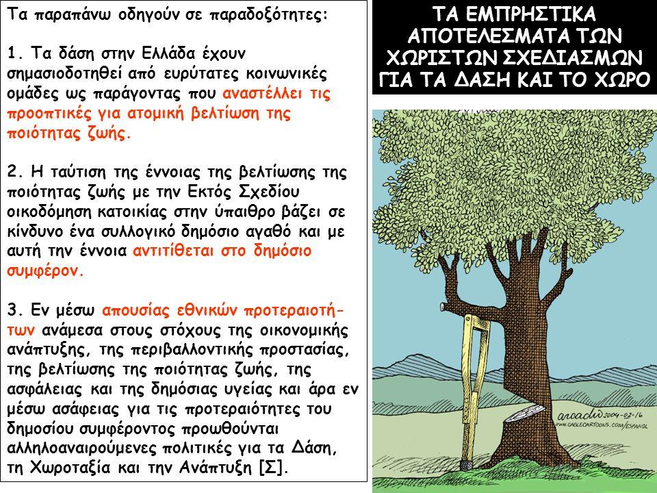 ΤΑ ΕΜΠΡΗΣΤΙΚΑ ΑΠΟΤΕΛΕΣΜΑΤΑ ΤΩΝ ΧΩΡΙΣΤΩΝ ΣΧΕΔΙΑΣΜΩΝ ΓΙΑ ΤΑ ΔΑΣΗ ΚΑΙ ΤΟ ΧΩΡΟ Τα παραπάνω οδηγούν σε παραδοξότητες: 1. Τα δάση στην Ελλάδα έχουν σημασιοδ