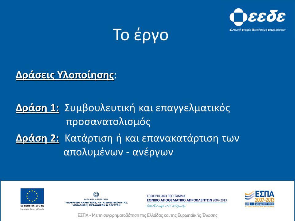 Το έργο Δράσεις Υλοποίησης Δράσεις Υλοποίησης: Δράση 1: Δράση 1: Συμβουλευτική και επαγγελματικός προσανατολισμός Δράση 2: Δράση 2: Κατάρτιση ή και επανακατάρτιση των απολυμένων - ανέργων