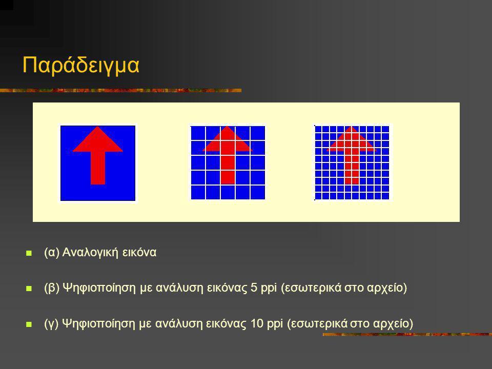 Παράδειγμα  (α) Αναλογική εικόνα  (β) Ψηφιοποίηση με ανάλυση εικόνας 5 ppi (εσωτερικά στο αρχείο)  (γ) Ψηφιοποίηση με ανάλυση εικόνας 10 ppi (εσωτε