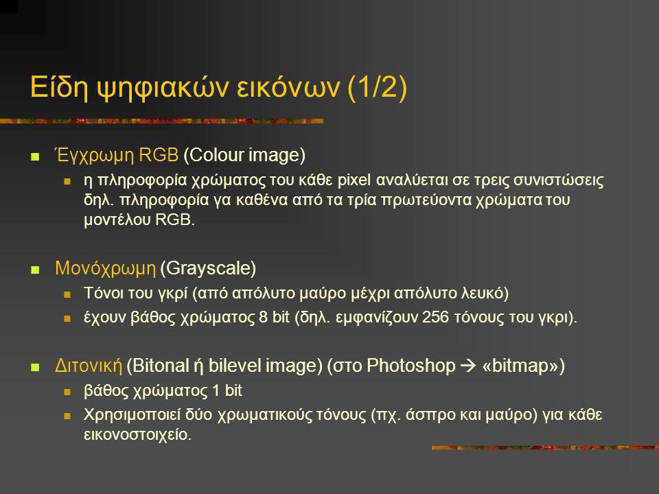 Είδη ψηφιακών εικόνων (1/2)  Έγχρωμη RGB (Colour image)  η πληροφορία χρώματος του κάθε pixel αναλύεται σε τρεις συνιστώσεις δηλ. πληροφορία γα καθέ