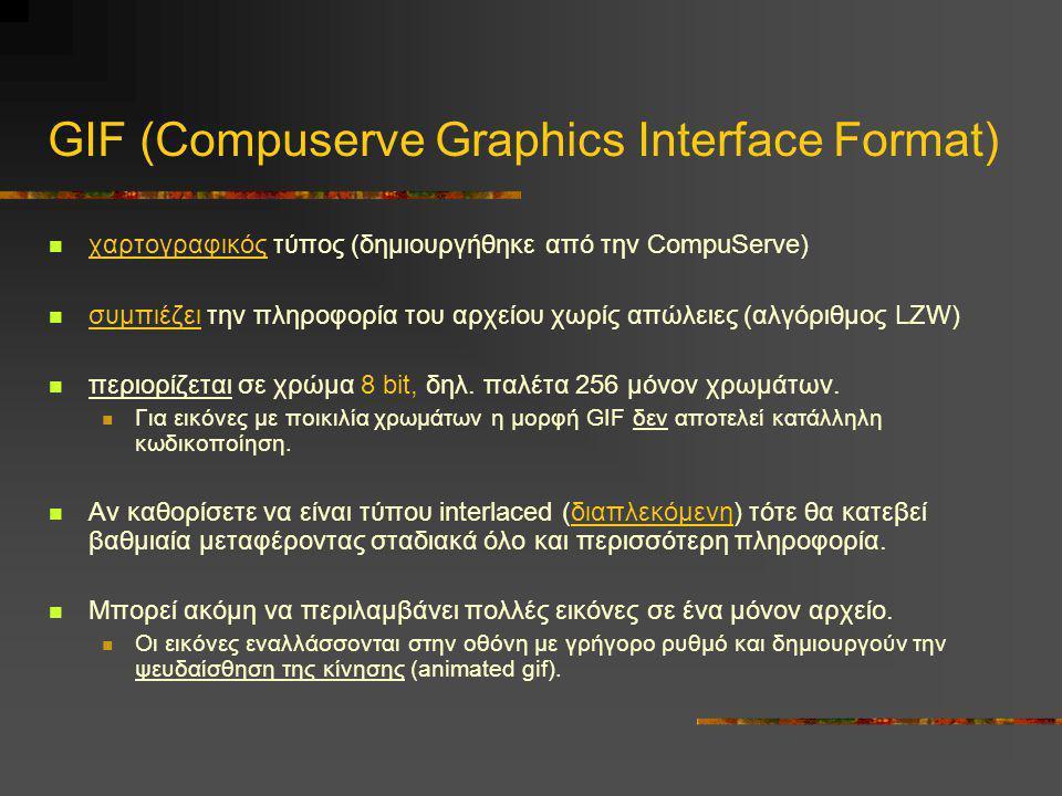 GIF (Compuserve Graphics Interface Format)  χαρτογραφικός τύπος (δημιουργήθηκε από την CompuServe)  συμπιέζει την πληροφορία του αρχείου χωρίς απώλε