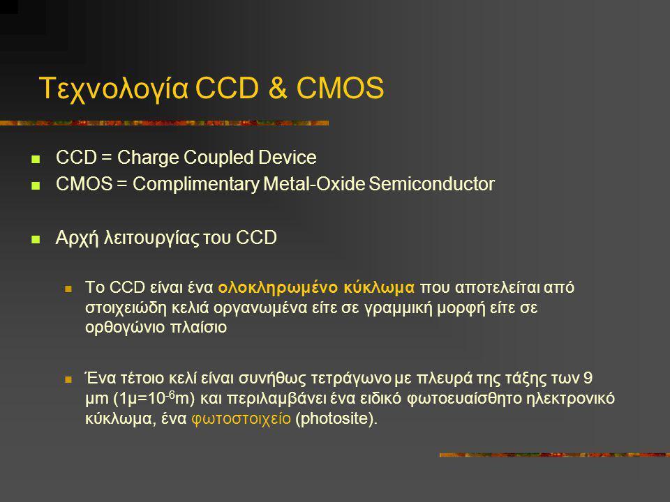 Τεχνολογία CCD & CMOS  CCD = Charge Coupled Device  CMOS = Complimentary Metal-Oxide Semiconductor  Αρχή λειτουργίας του CCD  Το CCD είναι ένα ολο