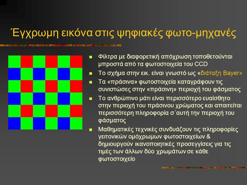 Έγχρωμη εικόνα στις ψηφιακές φωτο-μηχανές  Φίλτρα με διαφορετική απόχρωση τοποθετούνται μπροστά από τα φωτοστοιχεία του CCD  Το σχήμα στην εικ. είνα
