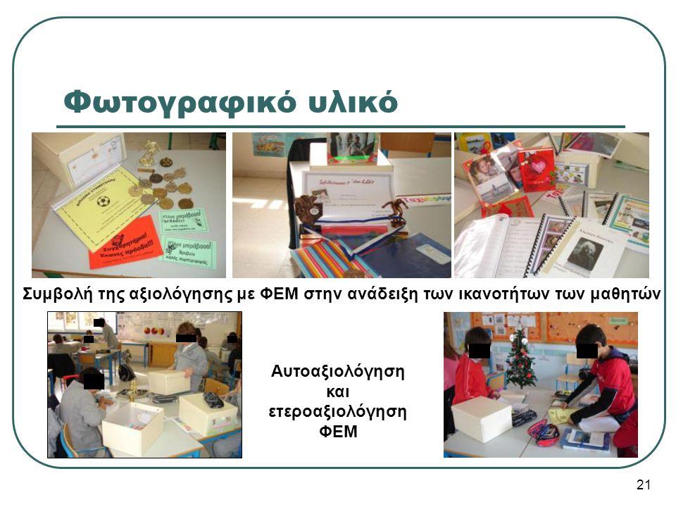 Συμβολή της αξιολόγησης με ΦΕΜ στην ανάδειξη των ικανοτήτων των μαθητών Αυτοαξιολόγηση και ετεροαξιολόγηση ΦΕΜ 21 Φωτογραφικό υλικό