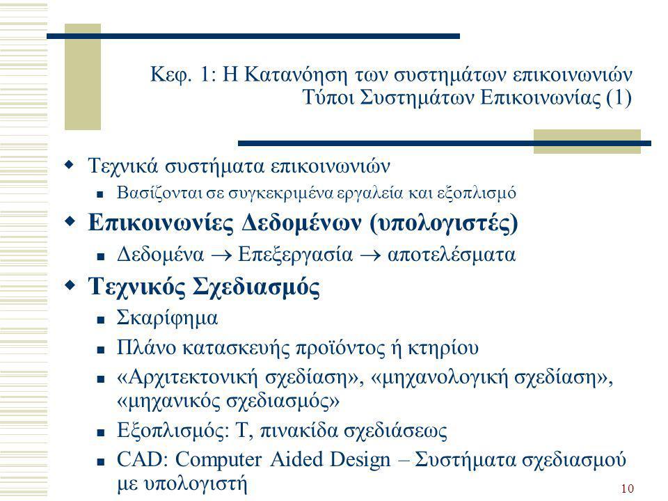 10 Κεφ. 1: Η Κατανόηση των συστημάτων επικοινωνιών Τύποι Συστημάτων Επικοινωνίας (1)  Τεχνικά συστήματα επικοινωνιών  Βασίζονται σε συγκεκριμένα εργ