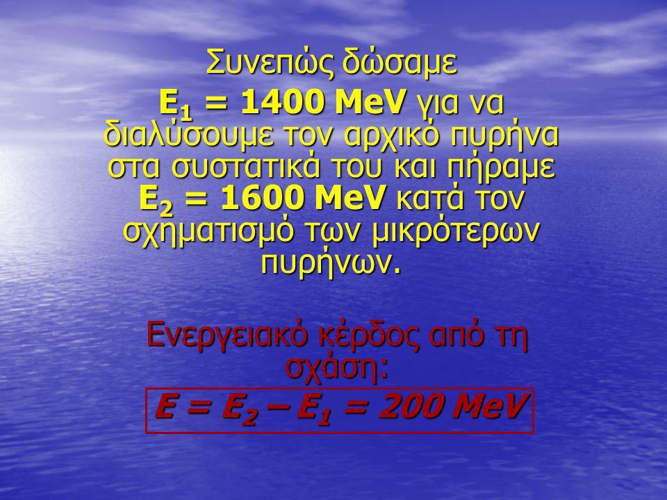 Συνεπώς δώσαμε Ε 1 = 1400 ΜeV για να διαλύσουμε τον αρχικό πυρήνα στα συστατικά του και πήραμε Ε 2 = 1600 MeV κατά τον σχηματισμό των μικρότερων πυρήν