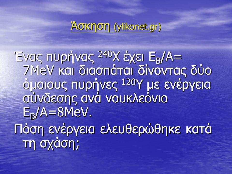 Άσκηση (ylikonet.gr) Ένας πυρήνας 240 Χ έχει Ε Β /Α= 7ΜeV και διασπάται δίνοντας δύο όμοιους πυρήνες 120 Υ με ενέργεια σύνδεσης ανά νουκλεόνιο Ε Β /Α=