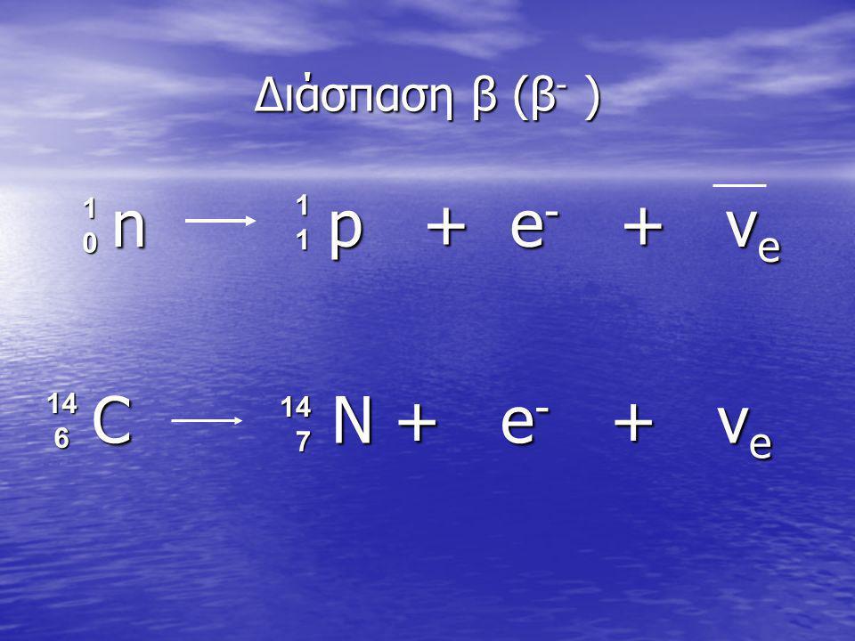 Διάσπαση β (β - ) n p + e - + ν e n p + e - + ν e 11111111 10101010 C N + e - + ν e C N + e - + ν e 14 7 14 614 614 614 6