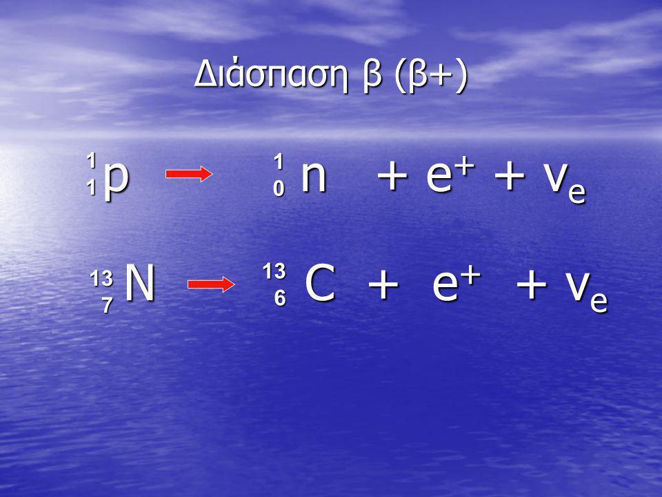 p n + e + + ν e p n + e + + ν e Διάσπαση β (β+) 10101010 11111111 N C + e + + ν e N C + e + + ν e 13 6 13 7