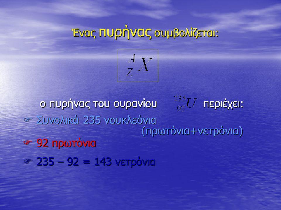 Ένας πυρήνας συμβολίζεται:  92 πρωτόνια  235 – 92 = 143 νετρόνια  Συνολικά 235 νουκλεόνια (πρωτόνια+νετρόνια) ο πυρήνας του ουρανίου ο πυρήνας του