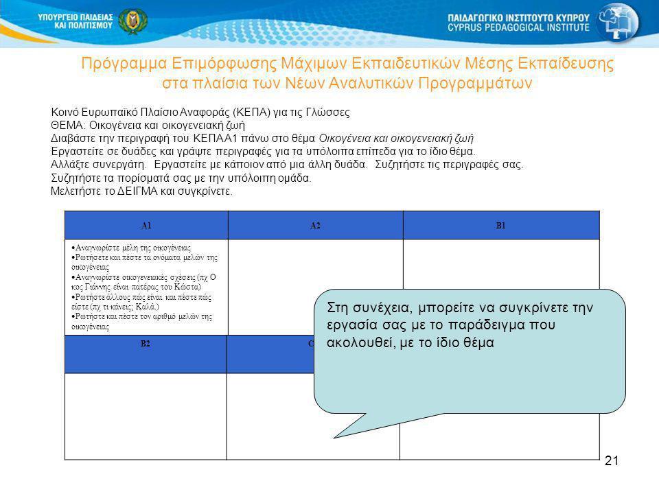 21 Πρόγραμμα Επιμόρφωσης Μάχιμων Εκπαιδευτικών Μέσης Εκπαίδευσης στα πλαίσια των Νέων Αναλυτικών Προγραμμάτων Κοινό Ευρωπαϊκό Πλαίσιο Αναφοράς (ΚΕΠΑ)